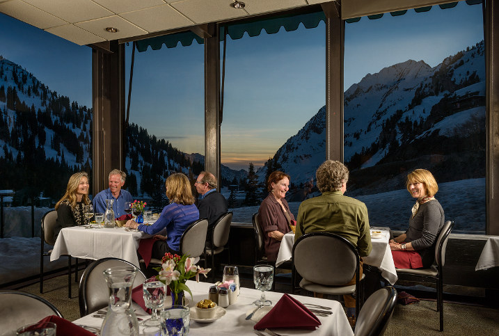 Group dining at Alta Lodge