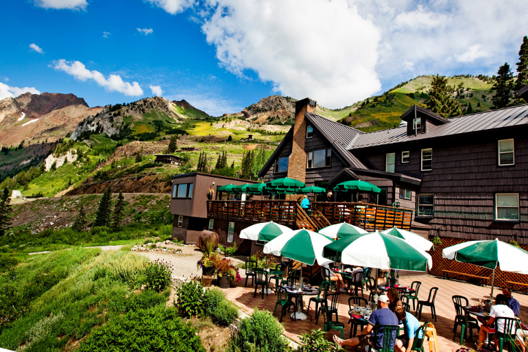 Outside Patio with Mountains for Sunday Brunch outside of Salt Lake City