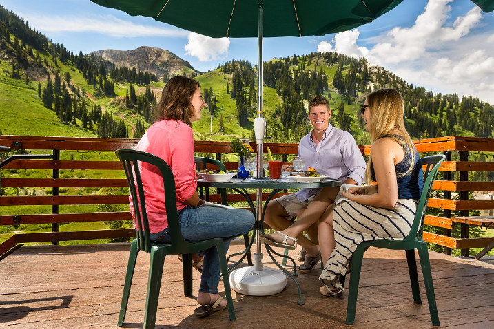 Three people enjoying Sunday Brunch at the Alta Lodge.
