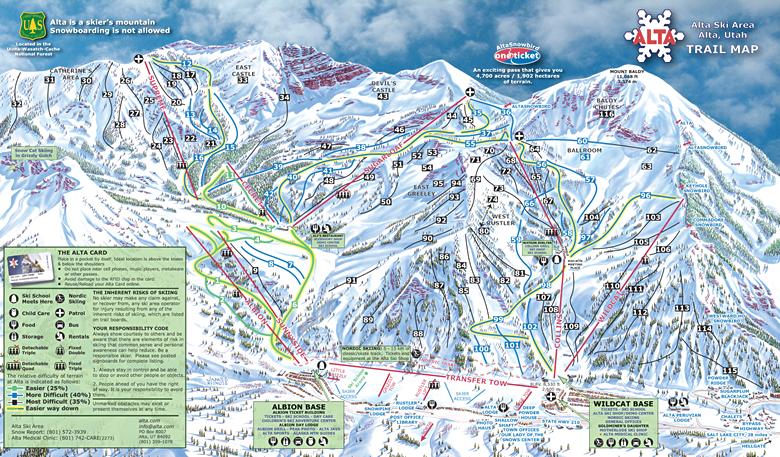 Alta Ski Area trail map