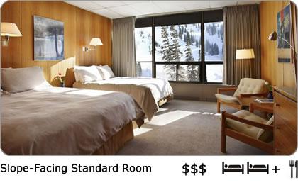 Cozy and comfortable ski lodge room with views of Alta Ski Area.
