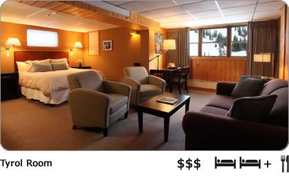 Cozy resort room in the Alta Lodge.