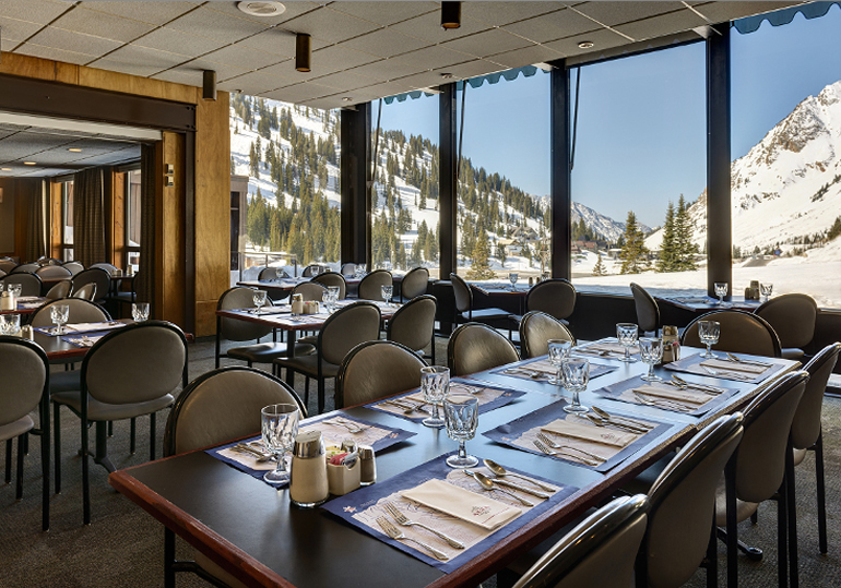 Lunch in the Alta Lodge Dining room with views of the Alta Ski Area