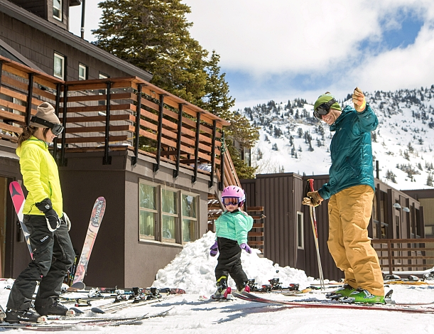Family spring skiing at Alta Lodge
